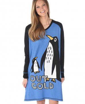 Lazy One Out Cold V-Neck Nightshirt in Blue
