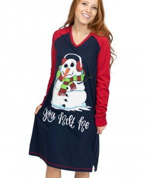 Lazy One You Melt Me V-Neck Nightshirt in Navy and Red