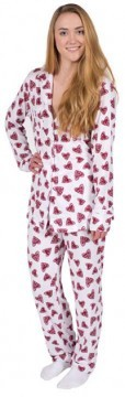 Love + Grace Hearts Women's Pajama Set in Brick and White