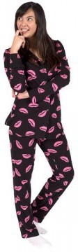 Love + Grace Kiss Me Women's Pajama Set in Black and Rose