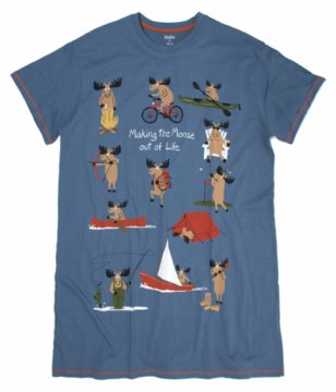 Little Blue House by Hatley Making The Moose Out of Life Women's Nightshirt in Dark Blue