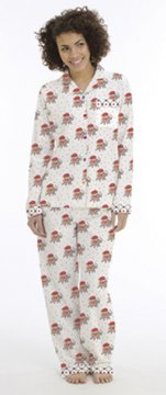 Munki Munki Women's Marching Elephants Flannel Pajama in White