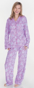 "Munki Munki Women's ""Bird Cages"" Cotton Jersey Pajama Set in Purple"