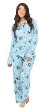 Munki Munki Women's Bird Wallpaper Classic Jersey Pajama Set