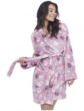 Munki Munki Women's Fluffy Black Sheep Fleece Robe