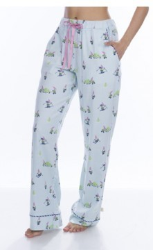 Munki Munki Women's Light Blue Snow Gnomes Flannel Pajama Pant