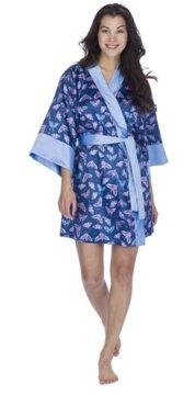Munki Munki Women's Butterflies Satin Kimono Robe