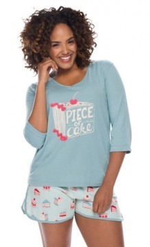 Munki Munki Women's Piece of Cake Oversized Tee and Short Pajama Set