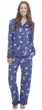 Munki Munki Women's Cat Hide and Seek Classic Flannel Pajama Set
