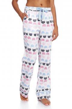 Munki Munki Women's Cat Polka Dot Flannel Pajama Pant