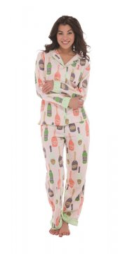 Munki Munki Women's Champagne Classic Flannel Pajama Set