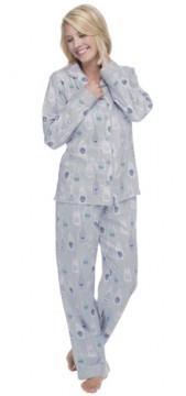 "Munki Munki Women's Grey ""Champagne"" Classic Flannel Pajama Set"
