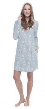 Munki Munki Women's Champagne Dreams Jersey Hooded Nightshirt