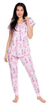 Munki Munki Women's Rosé Jersey Short Sleeve Tee and Jogger Pajama Set