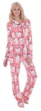 Munki Munki Women's Chinese Take Out Classic Jersey Pajama Set