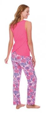 Munki Munki Women's Coachella Umbrella Jersey Tank and Pajama Pant Set