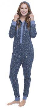 Munki Munki Women's Hooded Constellation Sparkle Fleece Onesie