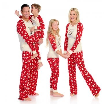 Munki Munki Women's Dashing Through The Snow Rib Raglan Tee & Pajama Pant Set