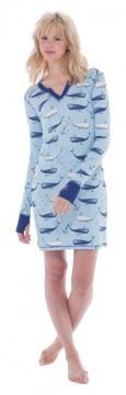 Munki Munki Deep Sea Whales Cotton Jersey Nightshirt
