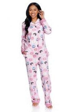 Munki Munki Women's Donuts Classic Flannel Pajama Set in Pink