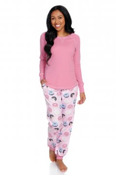 Munkii Munki Women's Donuts Tee and Flannel Jogger Set