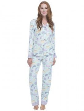 "Munki Munki Women's ""Fancy Cheese"" Classic Flannel Pajama Set"