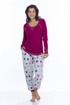 Munki Munki Women's Fancy Coffee Tee and Flannel Jogger Set