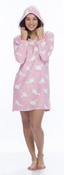 Munki Munki Women's Pink Fluffy Cats Coral Fleece Nightshirt