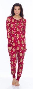 Munki Munki Women's Red Gingerbread Thermal Union Suit