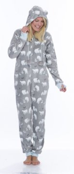 Munki Munki Women's Gray Polar Bear Hooded Coral Fleece Onesie