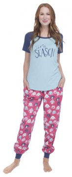 Munki Munki Women's Holiday Sweaters Tee and Flannel Jogger Set