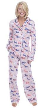 Munki Munki Women's Horses Cotton Jersey Classic Pajama Set