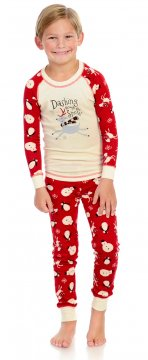 Munki Munki Kids Dashing Through The Snow Tee and PJ Pant Set