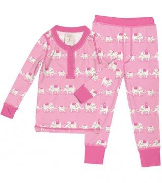 Munki Munki Kids Pink Elephants Long John Set