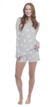 Munki Munki Women's Kittens and Bows Jersey Hoodie Short Set