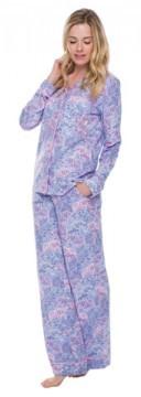 Munki Munki Women's Lace Elephant Cotton Jersey Classic Pajama Set