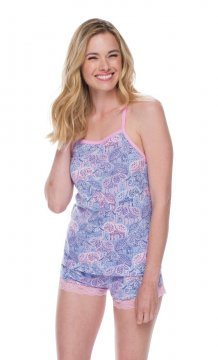 Munki Munki Women's Lace Elephant Jersey Tank and Short Set