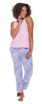 Munki Munki Women's Lace Elephant Cotton Jersey Pajama Pant and Tank Set