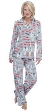 "Munki Munki Women's ""London"" Cotton  Jersey Classic Pajama Set"