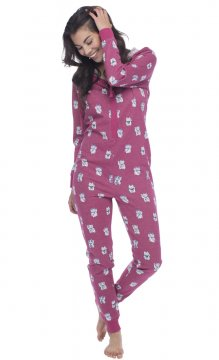 Munki Munki Lucky Cat Sparkle Fleece Onesie in Pink