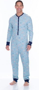 Munki Munki Men's Blue Polar Bears Thermal Union Suit