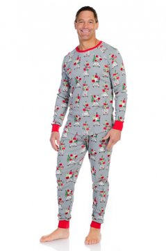 Munki Munki Men's Christmas Shopping Thermal Long John Pajama Set