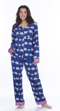 Munki Munki Women's Navy Elephants Classic Flannel Pajama Set