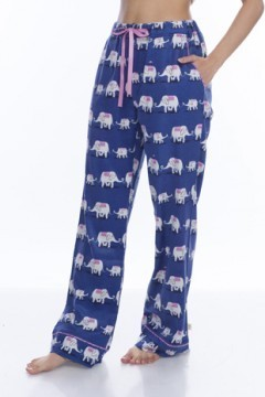 Munki Munki Women's Navy Elephants Flannel Pajama Pant