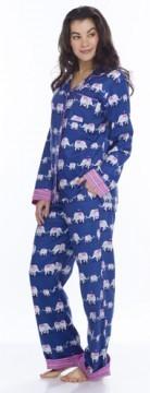 Munki Munki Women's Navy Elephants Classic Flannel Pajama Set