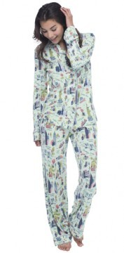 "Munki Munki Women's ""NYC"" Cotton Jersey Classic Pajama Set"