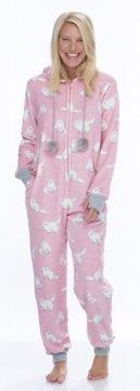 Munki Munki Women's Fluffy Pink Cat Coral Fleece Hooded Onesie