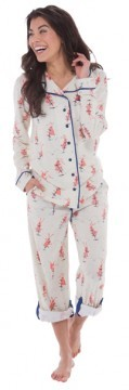 "Munki Munki ""Heather Pogo Bunnies"" Cotton Jersey Classic Pajama Set"