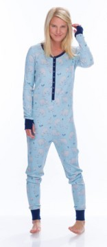 Munki Munki Women's Blue Polar Bears Thermal Union Suit
