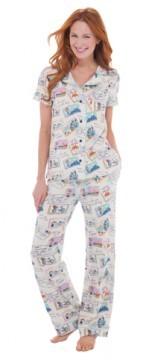 Munki Munki Women's Postcards from Abroad Short Sleeve Classic Pajama Set